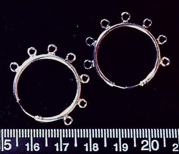 Sterling silver 24mm hoop with 7 loops earring findings (1 pair/2 total)