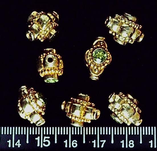 Vermeil gold with peridot beads 16mm x 14mm (set of 7 beads)