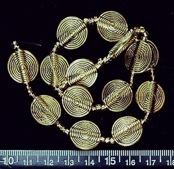 Gold color metal 15mm swirl circle beads (12 inch strand)