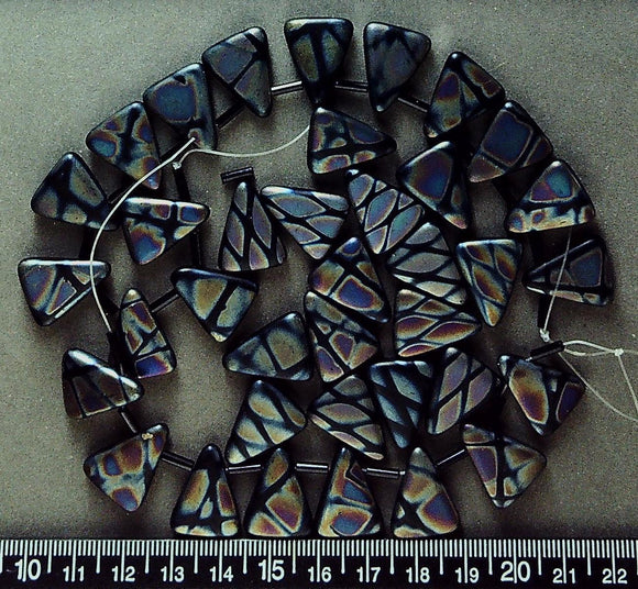 Black with multi pattern glass drop flat 12mm x 14mm triangle beads (37 beads)