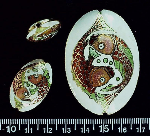 Cloisonne multicolor fish motif puffed oval (3 pc set) 58mm x 40mm and 30mm x 20mm