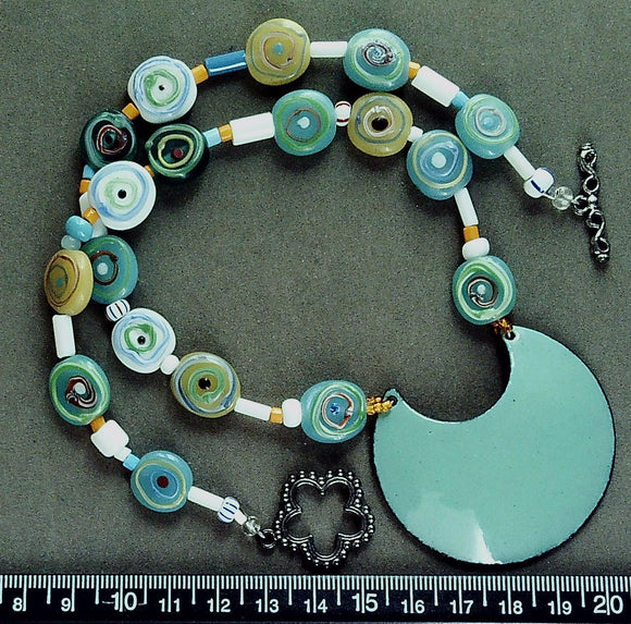 Blues/multicolor glass 17 inch necklace with enamel pendant and sterling toggle clasp