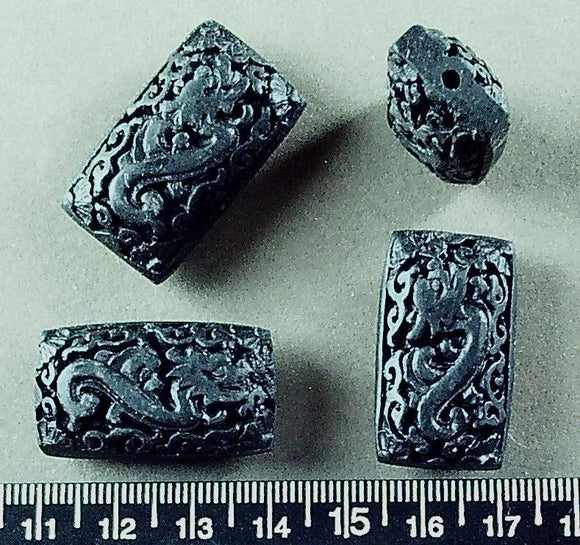 Black acrylic dragon design 30mm x 18mm puffed rectangle beads (set of 4)