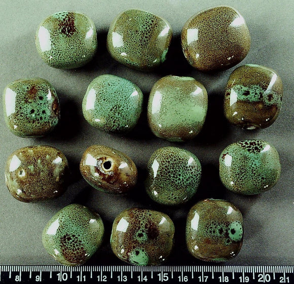 Green w/honey ceramic 30mm x 28mm flat fat oval beads (14 beads, large hole)