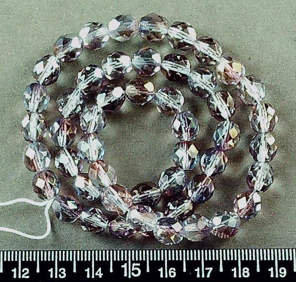 Czech pink/teal glass 8mm faceted round beads (16 inch strand)