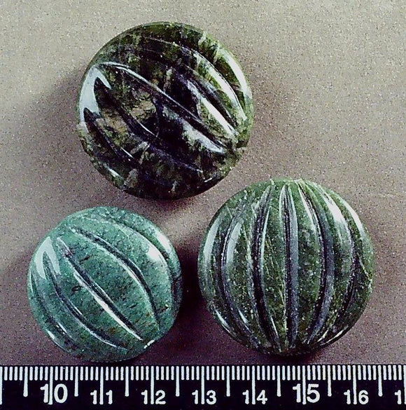 Green stone circle puffed melon beads (two @ 25mm+ one @ 30mm= 3 beads)