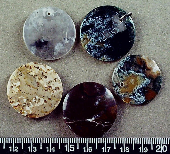 Mixed color jasper beads (three top drilled, two flat circles= 5 beads) largest 30mm