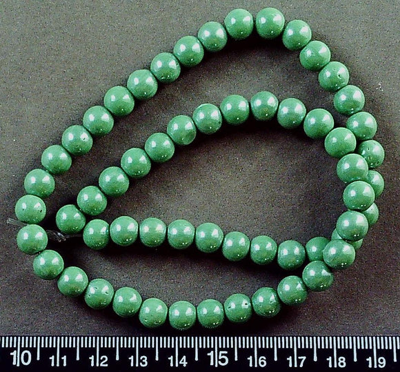 Green pearl glass 8mm round beads (17 inch strand)