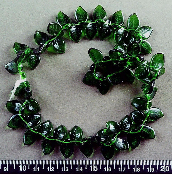 Emerald green glass drop curved leaf beads (9mm x 14mm) 16 inch strand