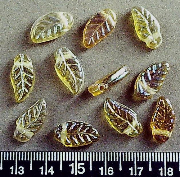 Golden yellow glass drop leaf beads (9mm x 18mm) 11 beads