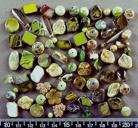 Green tones glass mixed shape bead lot (about 70 beads, largest 22mm long)
