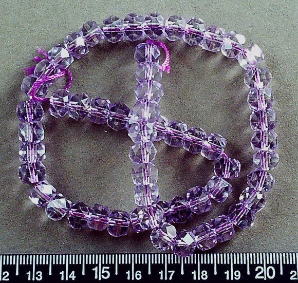 Amethyst 6mm x 8mm faceted rondelle beads (14 inch strand) Stunning!