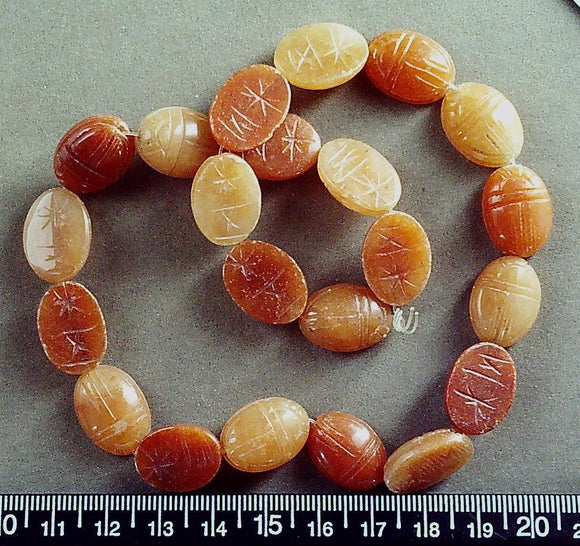 Red aventurine flat back scarab beads (28mm x 14mm) 15 inch strand