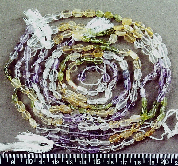 Fluorite green/colorless/yellow/purple flat 9mm x 6mm oval beads (five 14 in strands=70 in)