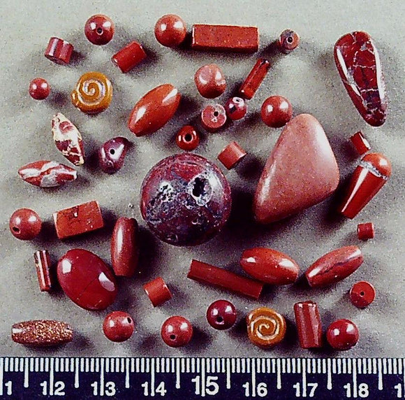 Red jasper mixed shape/size beads (largest 18mm round) (40+ beads)