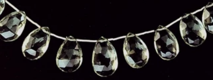 Green quartz top-drilled fat teardrop beads 9 inch strand, extra fine! 14 total beads slightly graduated