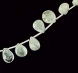 Prehnite Green 12mm faceted teardrop beads 8 inch strand