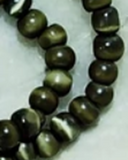 Cats eye glass olive green 4mm round beads  12 inch strand