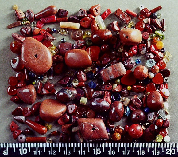 Red jasper mixed shape/size beads (largest 14mm x 25mm) (100+ bonus beads)