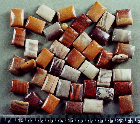 Mixed brown / red patterned Jasper  puffed 20mm x 15mm rectangle beads (50+ beads)