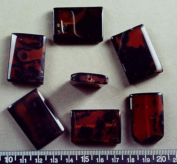 Brown/black agate  flat 34mm x 22mm rectangle beads (7 beads)