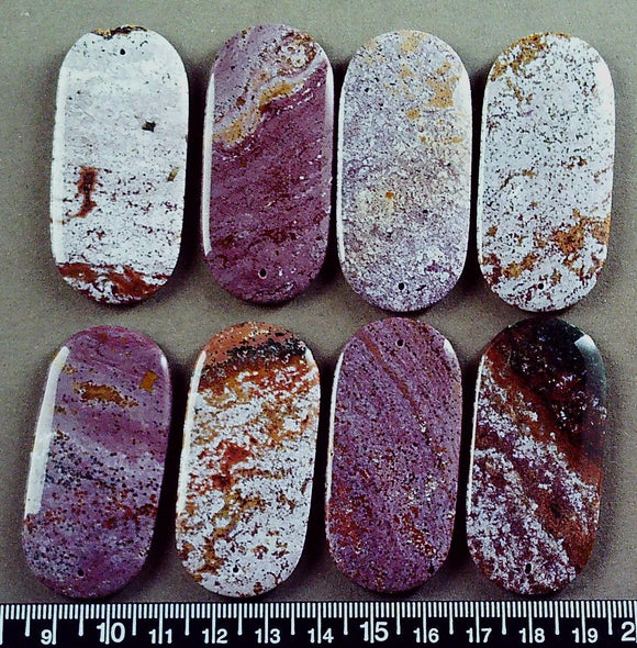 Purple/golden brown jasper 52mm x 26mm top drilled flat oval beads (8 beads)