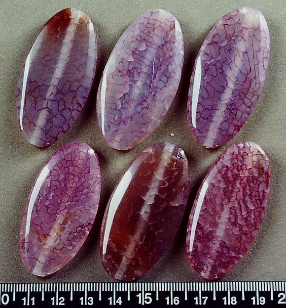Purple/pink/violet agate 50mm x 26mm flat oval beads (6 beads)