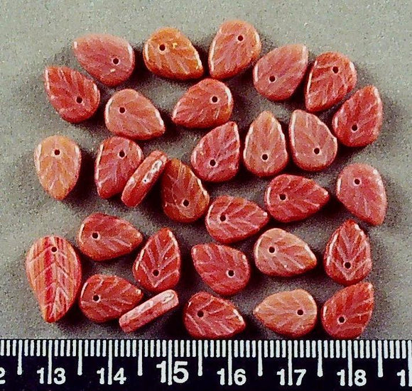 Light red glass top drilled leaf beads (4mm x 11mm) 28 beads