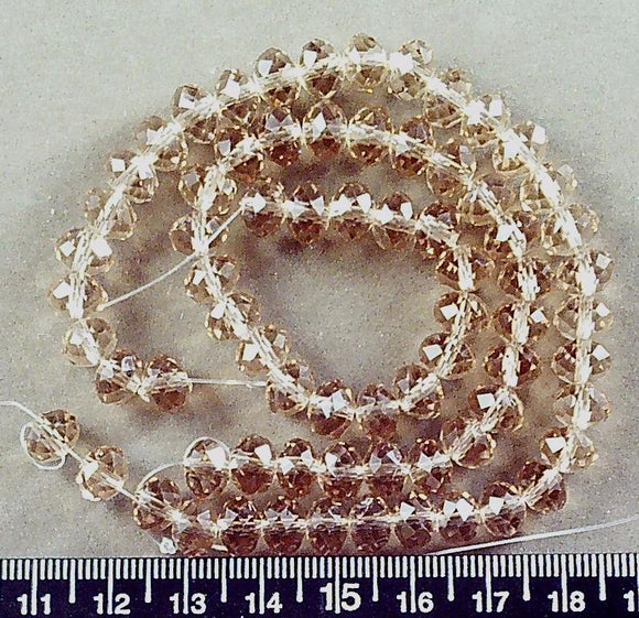 Pale peach glass faceted rondelle beads (6mm x 8mm)(two 8 inch strands=16 inches)