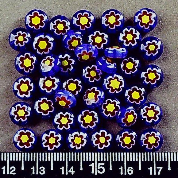 Blue with red/yellow star glass 8mm round beads (40 beads)