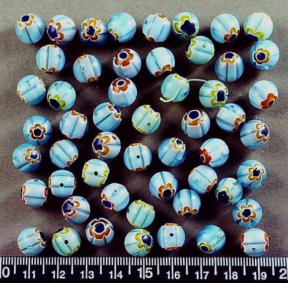 Blue with white/black/yellow/orange flowers 10mm round glass beads (50+ beads)