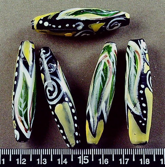 Green/white/yellow/black lampwork glass oval beads (50mm x 10mm) set of 5