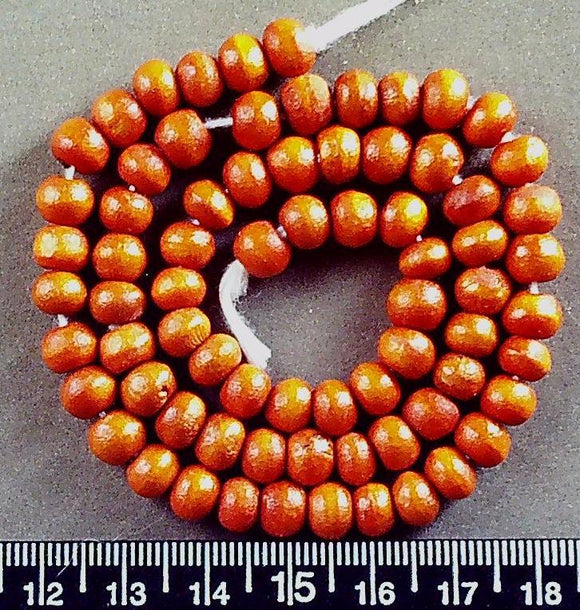 Orange wood rondelle beads (6mm x 8mm) 12 inch strand