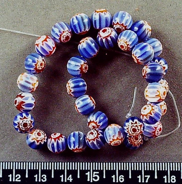 Blue with orange/red/white star 8mm round glass  beads (10 inch strand)
