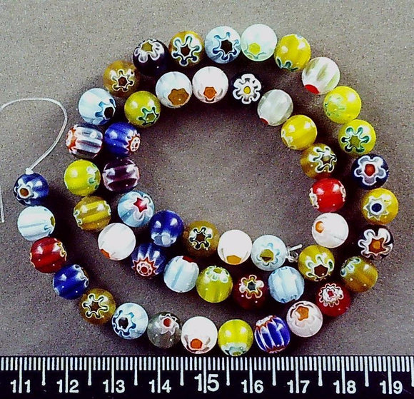 Multicolor flower 8mm round glass  beads (10 inch strand)