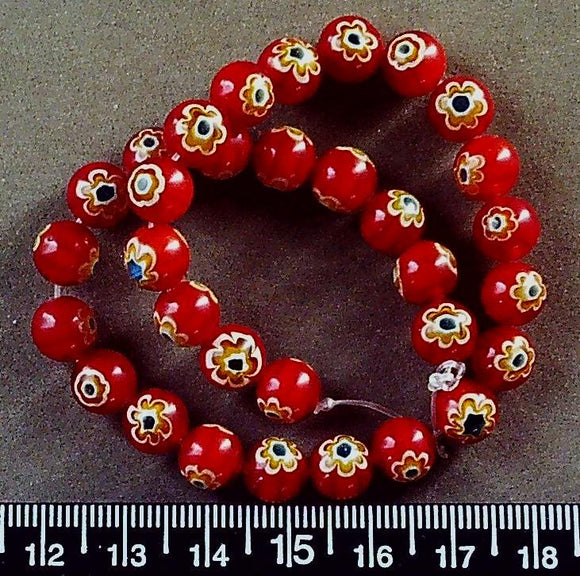 Red with white/green/yellow glass 8mm glass beads (10 inch strand)