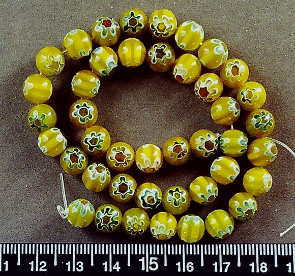 Yellow with white/green/yellow glass 8mm glass beads (15 inch strand)