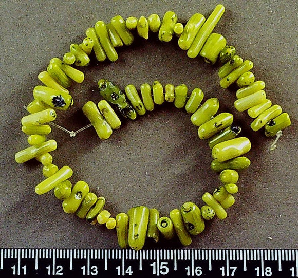Lime green glass middle-drilled stick beads (avg 3mm x 10mm)(9.5 inch strand)