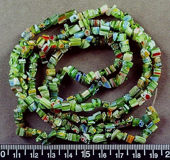 Green and multi color glass irreg square chip beads (36 inch strand)