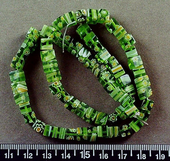 Green  w/ white/yellow  glass 6mm cube beads (16 inch strand)