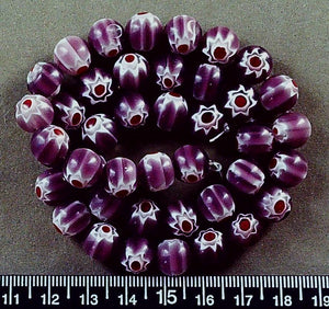 Violet with white/red glass 10mm round beads (15 inch strand)