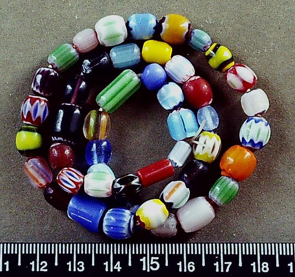 Multi color lampwork glass mixed shape beads (largest 14mm) (16 inch strand)