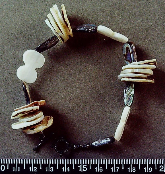 Tan and white mother of pearl bracelet with sterling toggle clasp (7.5 inches incl clasp)
