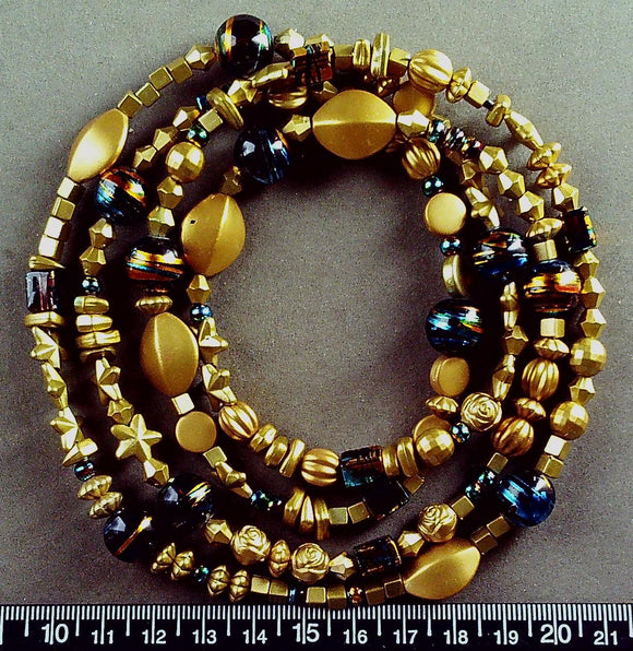 Gold vinyl and multicolor glass necklace (34 inches)