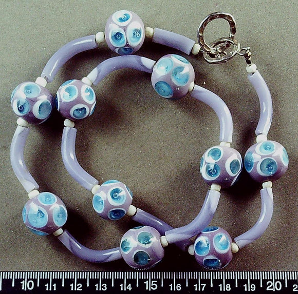Pale purple w/ blue/white glass necklace w/ sterling toggle clasp (20 inches)