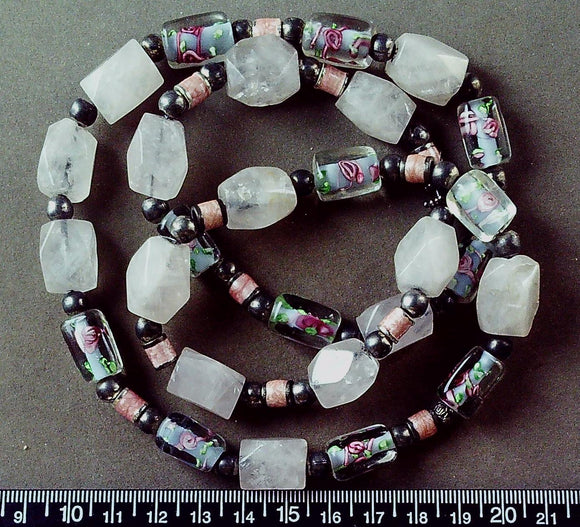 Rose quartz and multicolor glass necklace (27 inches)