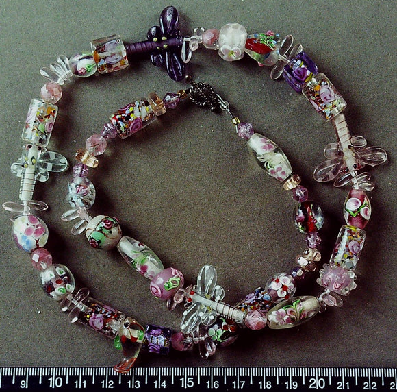 Pink and multicolor glass necklace with cterling toggle clasp (24 inches)