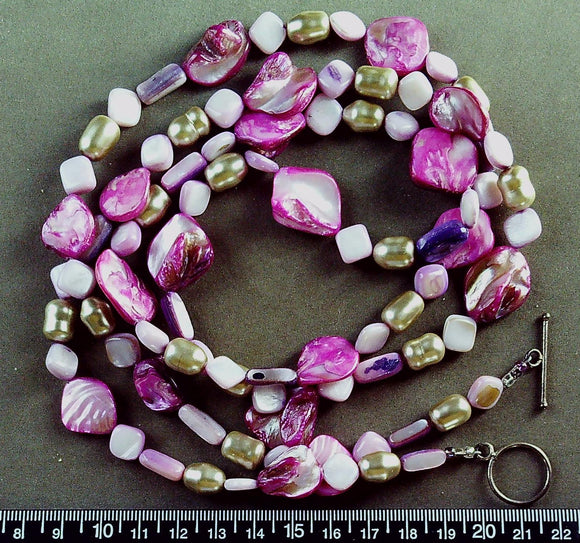 Pink mother of pearl necklace with sterling toggle clasp (34 inches)