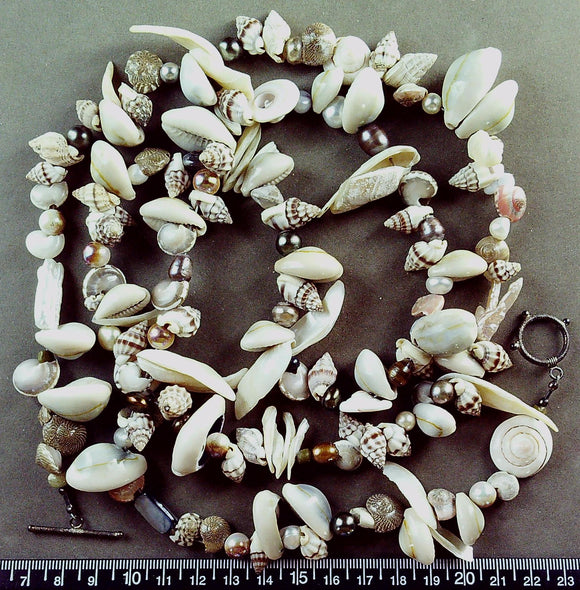 Shell necklace with sterling toggle clasp (40 inches)