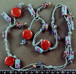 Blue and salmon Fimo clay necklace (24 inches)